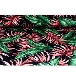 Lycra jersey Crepe Simmer Tropical leaves Black