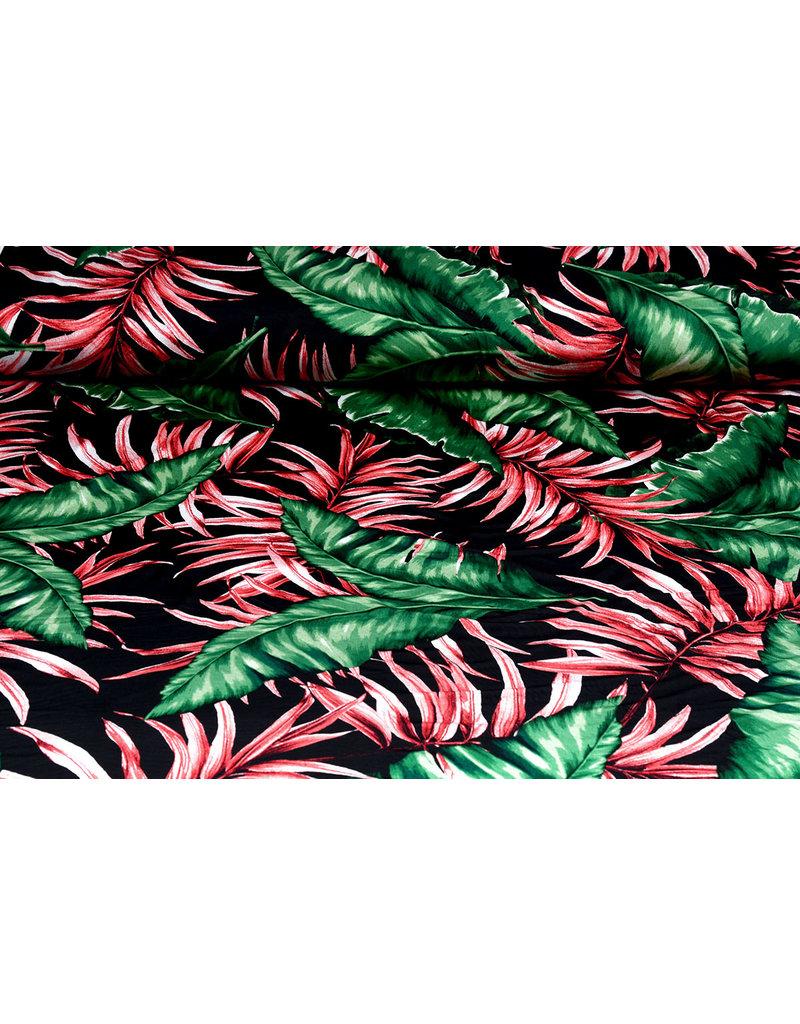 Lycra tricot Crepe Simmer Tropische Bladeren Zwart
