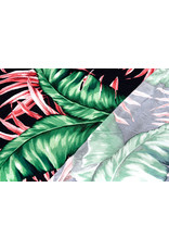 Lycra Trikot Crepe Simmer Tropische Blätter Schwartz