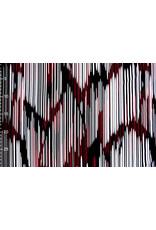Lycra Trikot Crepe Simmer Abstrakte Streifen Rote
