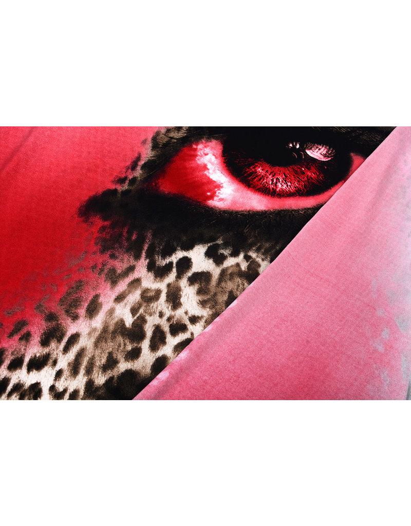 Panel Lycra Crepe  Trico Pantherdruck Auge Ido Röt