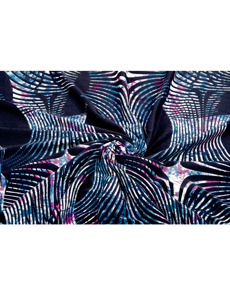 Lycra tricot Simmer Zebra Ori Blauw