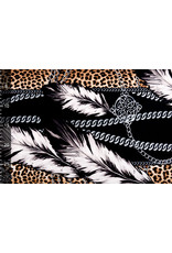 Travel Simmer Panther Print Feather Chain