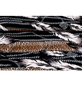 Lycra jersey Panther Print Feather Chain