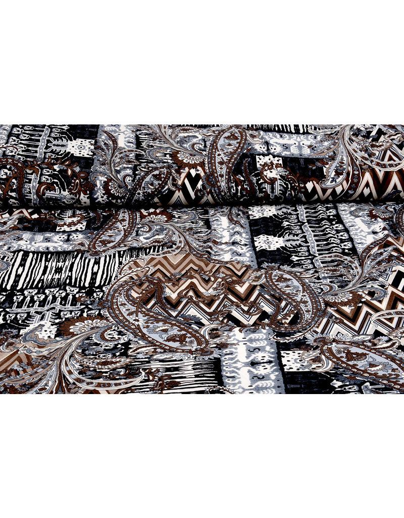 Lycra tricot Simmer Oriplo Zwart Bruin