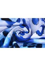 Katoen Panterprint  Watercolor Blauw
