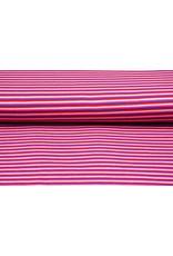 Baumwolljersey Streifen Multi Rosa
