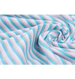 Baumwolljersey Streifen Multi Aqua