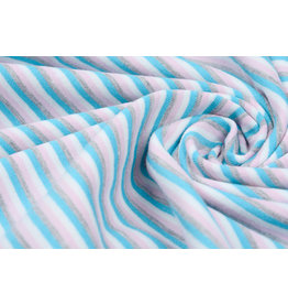 Cotton Jersey Stripe Multi Aqua