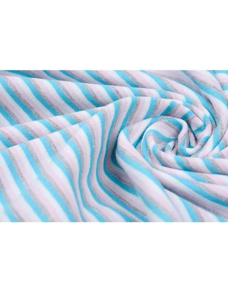 Cotton Jersey Streep Multi Aqua