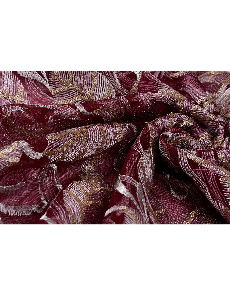 Embroidered lace Feathers Bordeaux Gold