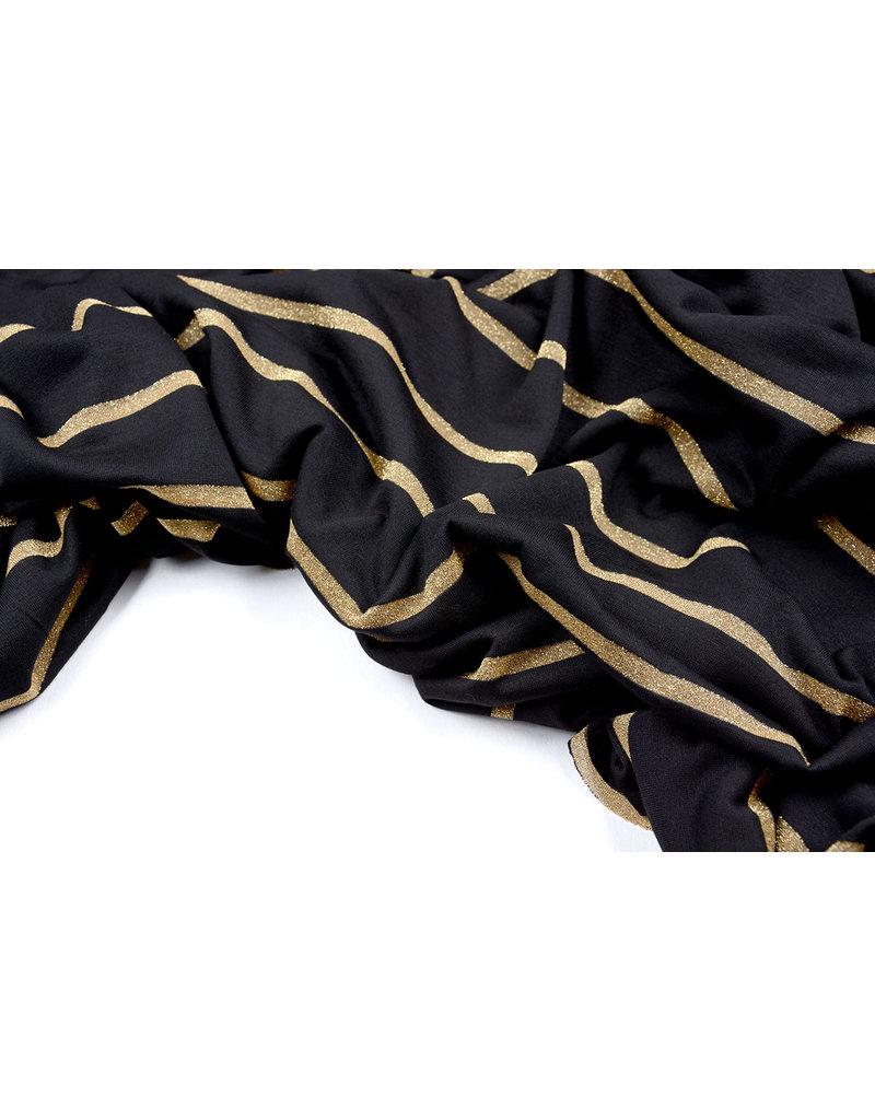 Viskose-Trikot mit Lurex-Streifen Schwarzgold