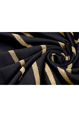 Viscose Jersey with lurex Stripes Black Gold