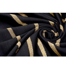 Viscose Jersey met lurex Strepen Zwart Goud