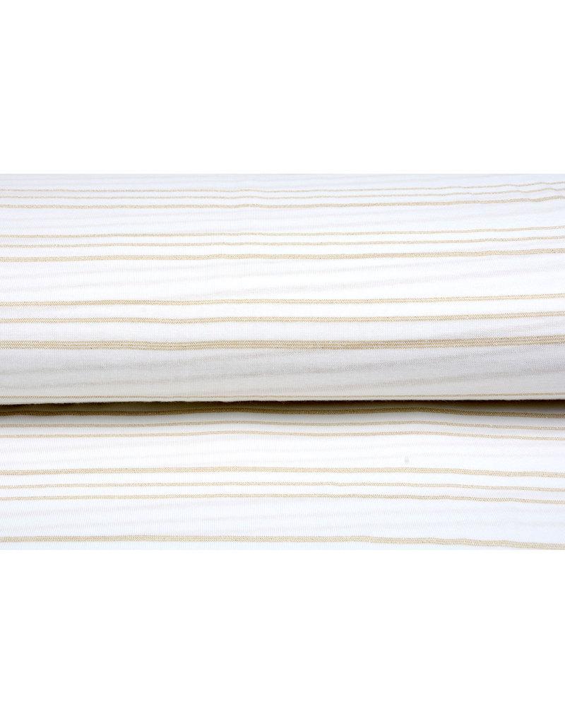 Viscose Jersey met lurex Strepen Wit Goud