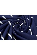 Viskose Streifen Marine Weiß