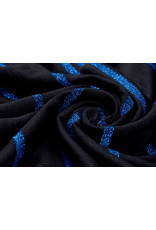 Viscose Jersey with lurex Stripes Black Blue
