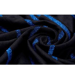 Viskose-Trikot mit Lurex-Streifen Schwarz-Blau
