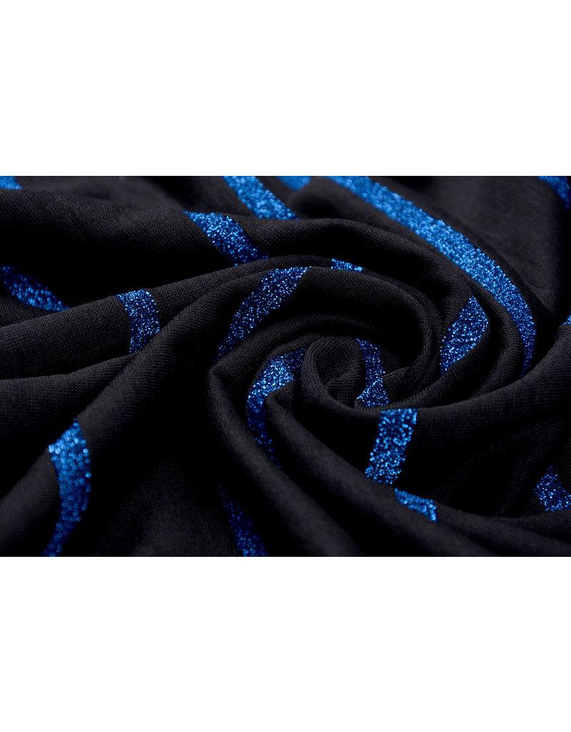 Viscose Jersey met lurex Strepen Zwart Blauw