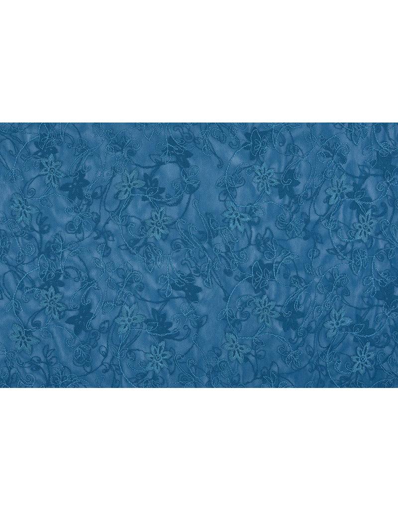 Kant Jasmijn bloem Petrol Blauw