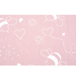 100% Washed Cotton Bee Powder Pink