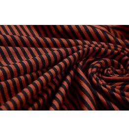 Viskose Streifen Brique Schwarz