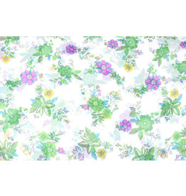 Yoryu Chiffon Printed Flower Green Purple