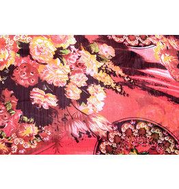 Yoryu Chiffon bedruckt asiatischen rot