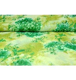 Yoryu Chiffon bedruckt Blumen grün