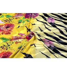 Yoryu Zebramuster Chiffon bedruckt Blume gelb