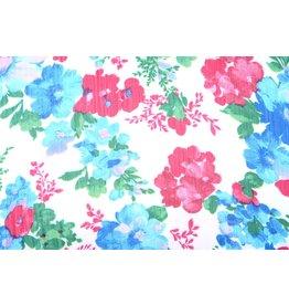 Yoryu Chiffon bedruckt Blumen Aqua Pink