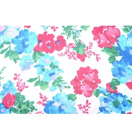 Yoryu Chiffon Printed Flowers Aqua Pink
