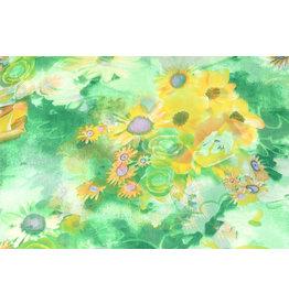 Yoryu Chiffon Printed Zonneboemen Green Yellow
