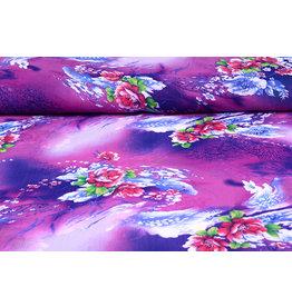 Yoryu Chiffon bedruckt Blume lila blau
