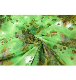 Yoryu Chiffon bedruckt Dots grün