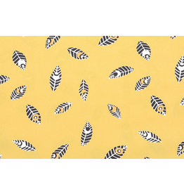100% Cotton Feathers Botanica Yellow