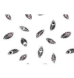 100% Cotton Feathers Botanica White Old Pink