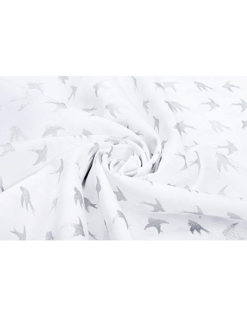 100% Baumwolle Vögel WeißSilber