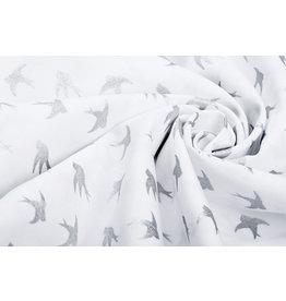 100% Cotton Birds White Silver