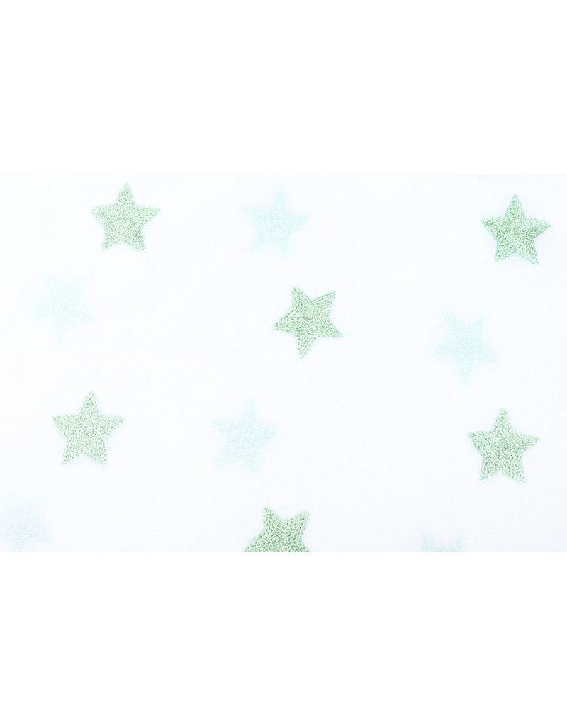 100% Cotton Stars bestickt White Mint Grün