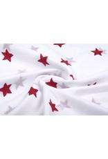 100% Cotton Stars bestickt Weiß Rot
