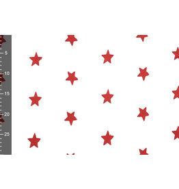 100% Katoen Sterren geborduurd Wit Rood