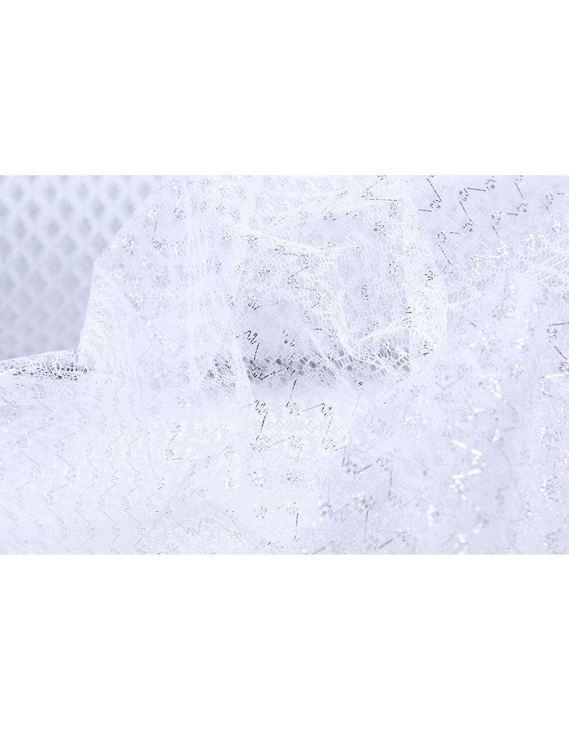 Lurex auf Tüll Brilo Weiß