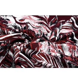 Viscose Jersey Digital Leaves Bordeaux