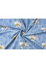 Digitaldruck Blumenfahrrad Blau Baumwolljersey