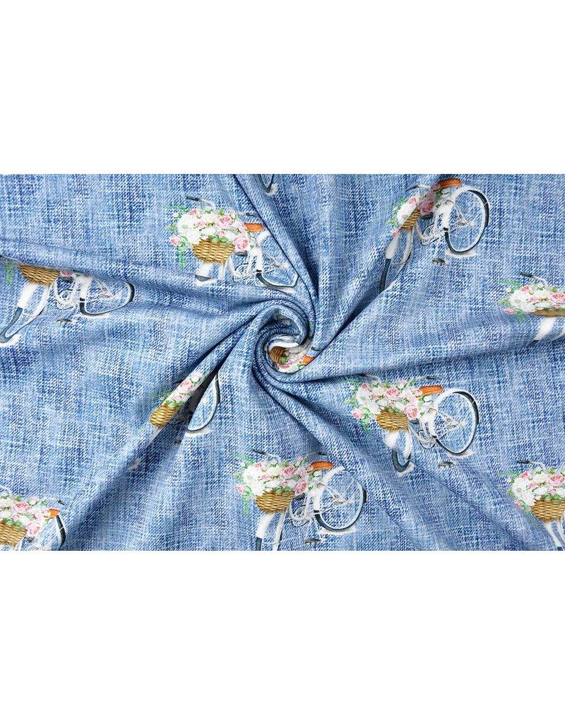 Digitale Print Bloemen fiets blauw Cotton Jersey