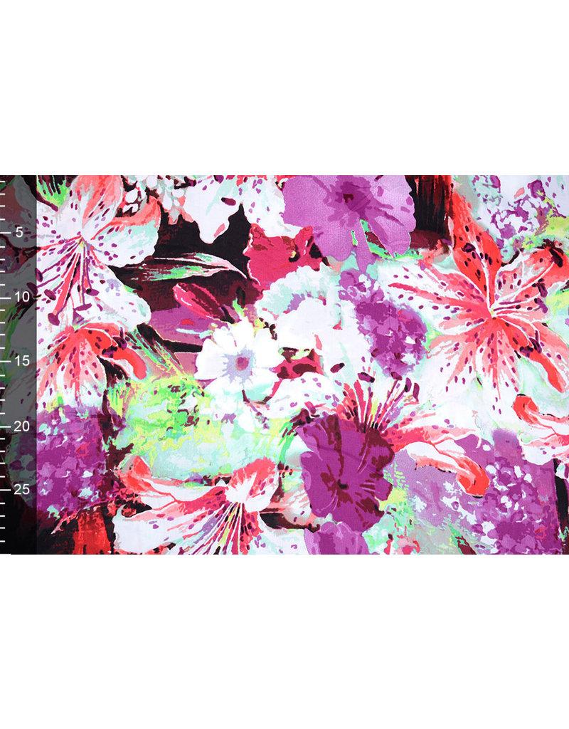 100% Viscose Digitaal Print Lily  Paars