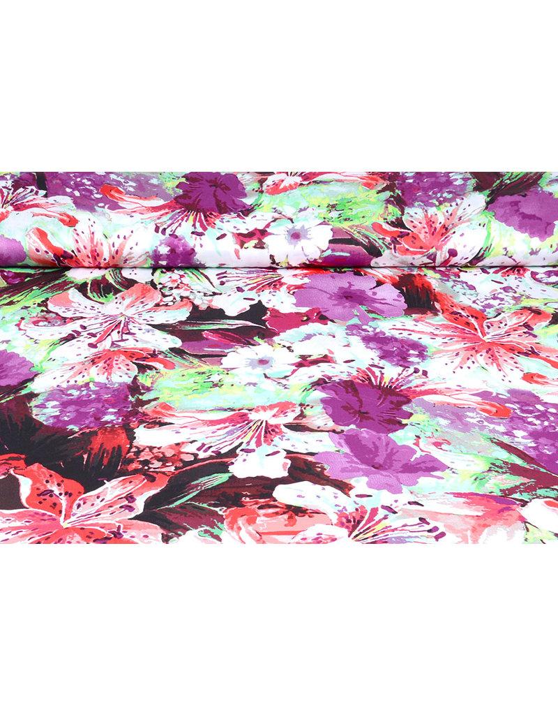 100% Viskose Digital Printed Lily Lila