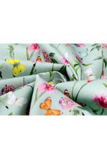 Stenzo 100% Digitaal Katoen Bloemen Vlinders Oud Groen