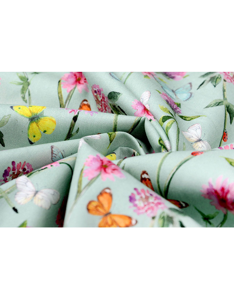 100% Digital Baumwolle Blumen Schmetterlinge Alt Grün